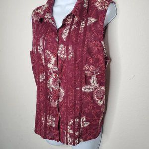 Maroon Sleeveless Collared Button-down Blouse XL